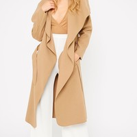Veronica Camel Oversized Waterfall Belt Coat - Coats - PrettyLittleThing | PrettyLittleThing.com