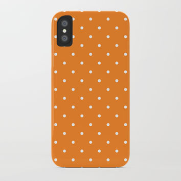 Small White Polka Dots with Orange Background by CoolFunAwesomeTime