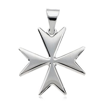 14k White Gold Polished Maltese Cross Pendant, 18mm