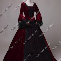 Victorian Velvet Dark Queen Dress Gown Theater Vampire Halloween Costume N 153