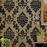 beibehang Black Damask Wall Paper Flocking Velvet Wallpaper Europe Luxury 3D Living Room Bedroom Wall Decor papeis de parede