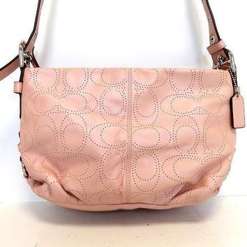 Auth COACH Signature Punching F17104 Pink Leather Shoulder Bag