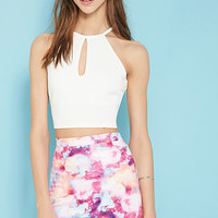 Paint It Red Marble Print Skirt