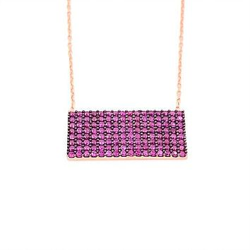 Zircon Rectangle Necklace 925 Sterling Silver