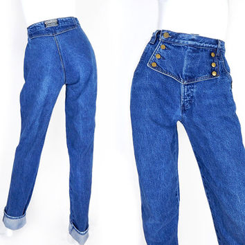 Vintage 80s 90s High Waisted Womens Jeans - Size 6 Long - Rockies Western Wear Tall Curvy Straight Leg Urban Cowgirl Denim - 27 Waist