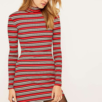 BDG Red Striped Ribbed Turtleneck Dress - Urban Outfitters