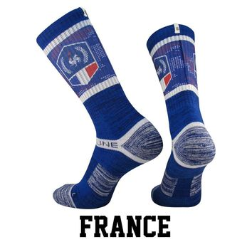 Strideline® S Collection, France Flag Crew Socks NEW