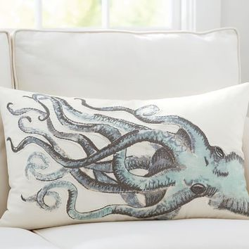 PAINTED OCTOPUS EMBROIDERED LUMBAR PILLOW COVER