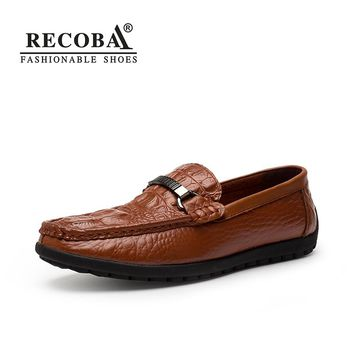Men casual genuine leather brown flat penny moccasins slip on driving shoes hombre for men dress boat shoes