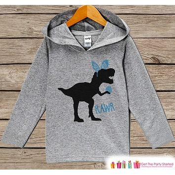 Boys Easter Outfit - Dinosaur Easter Bunny Hoodie - Easter Spring Pullover - Baby Toddler Boys Easter Outfit - Egg Hunt - Kids Grey Hoodie