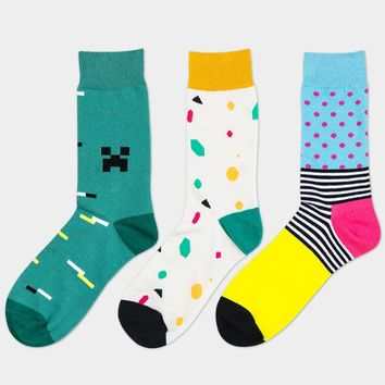 PEONFLY Happy men With Fund Man Cotton Socks In Canister Leisure Time Male Socks Tide Socks meias masculino meia 3PAIRS/LOT
