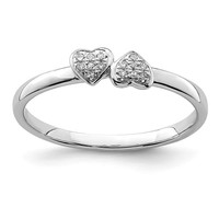Sterling Silver Double White Diamond Heart Ring