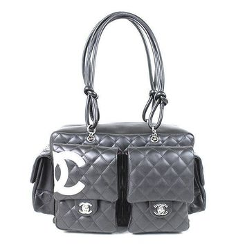 Auth CHANEL Cambon line Women tote bag