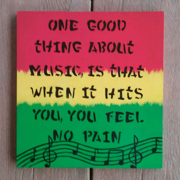 Rasta Colored Painting, reggae art, Music note decor, handmade art, rustic wall decor for home, Rasta gift ideas, wood sign, custom order