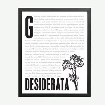 Desiderata by Max Ehrmann  - Art Print - Poster for Poetry and Literature Lovers - 8 x 10 Wall Decor