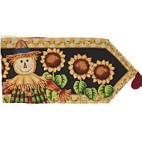 Tache Sunflower Field Scarecrow Autumn Harvest Woven Tapestry Table Runners (11712TR)