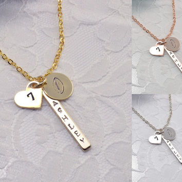 Football Ball Personalized Bar Disc Coin Heart Necklace Bracelet Anklet Delicate Hand Stamped Jewelry