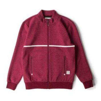 ONETOW Crooks And Castle Rocket Track Jacket In Burgundy