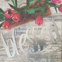 "Silver Galvanized ""Blessed"" Metal Script Sign"