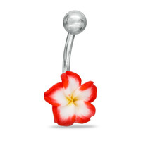 014 Gauge Red, White and Yellow Enamel Flower Belly Button Ring in Stainless Steel -  - View All - PAGODA.COM