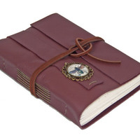 Burgundy Leather Journal with Cameo Bookmark - Ready to Ship -