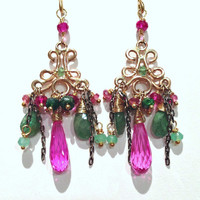 SALE  Gold Chandelier Earrings Tsavorite Filigree Pink Green Gemstones Petite Chandelier Genuine Gemstones Handmade Chandelier