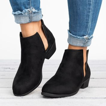 Slit Ankle Flat Booties - Black