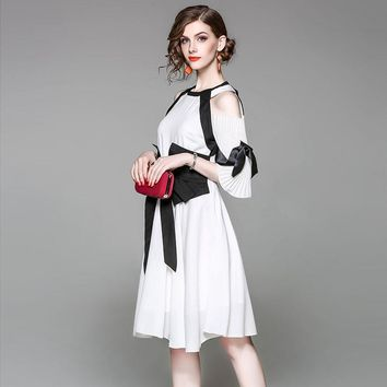 Europe Fashion Designers Woman Dress High Quality Summer 2017 New Runway Dresses Off The Shoulder White Black Color Block Dress