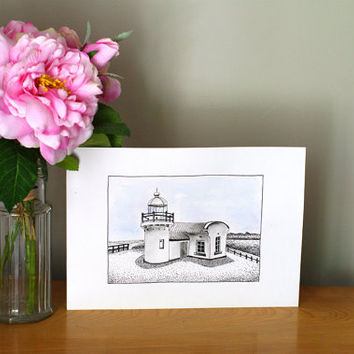 Lighthouse drawing Home decor Landscape Wall decor Ink drawing Beach house Nautical decor Watercolour and ink Original painting Beach art