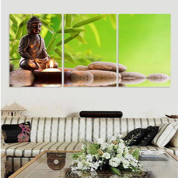 3 Panel Abstract Printed Hotoke Buddhism Buddha Oil Painting Picture Cuadros Decor Buda Canvas Art For Bed Room Unframed