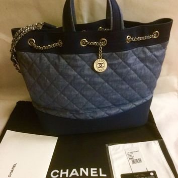 NWT CHANEL 14P DENIM BLUE MEDALLION 2WAY LARGE QUILTED CHAIN BACKPACK TOTE BAG