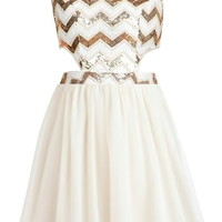 Chevron Shocker Dress | Ivory Gold Sequin Cutout Party Dresses | Rickety Rack