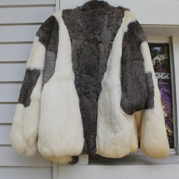 Vintage Rabbit Fur Coat, Fur Jacket Retro
