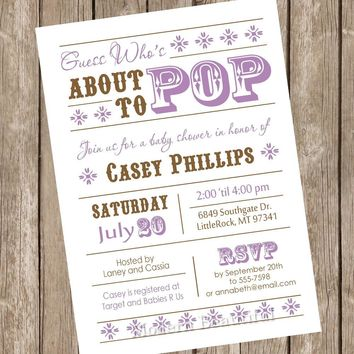 About to Pop Baby Shower Invitation, girl baby shower invitation, brown, purple, typography, printable invitation