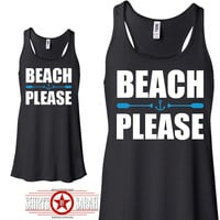 Beach Please Tank Top - Flowy Summer Women's Nautical Tanks Funny Oar Anchor
