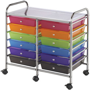double storage cart with 12 drawers - multicolor
