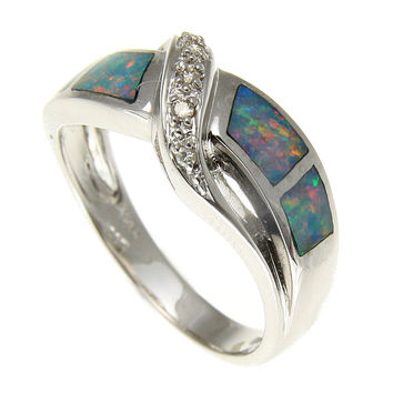 GENUINE AUSTRALIAN OPAL DIAMOND RING IN SOLID 14K WHITE GOLD