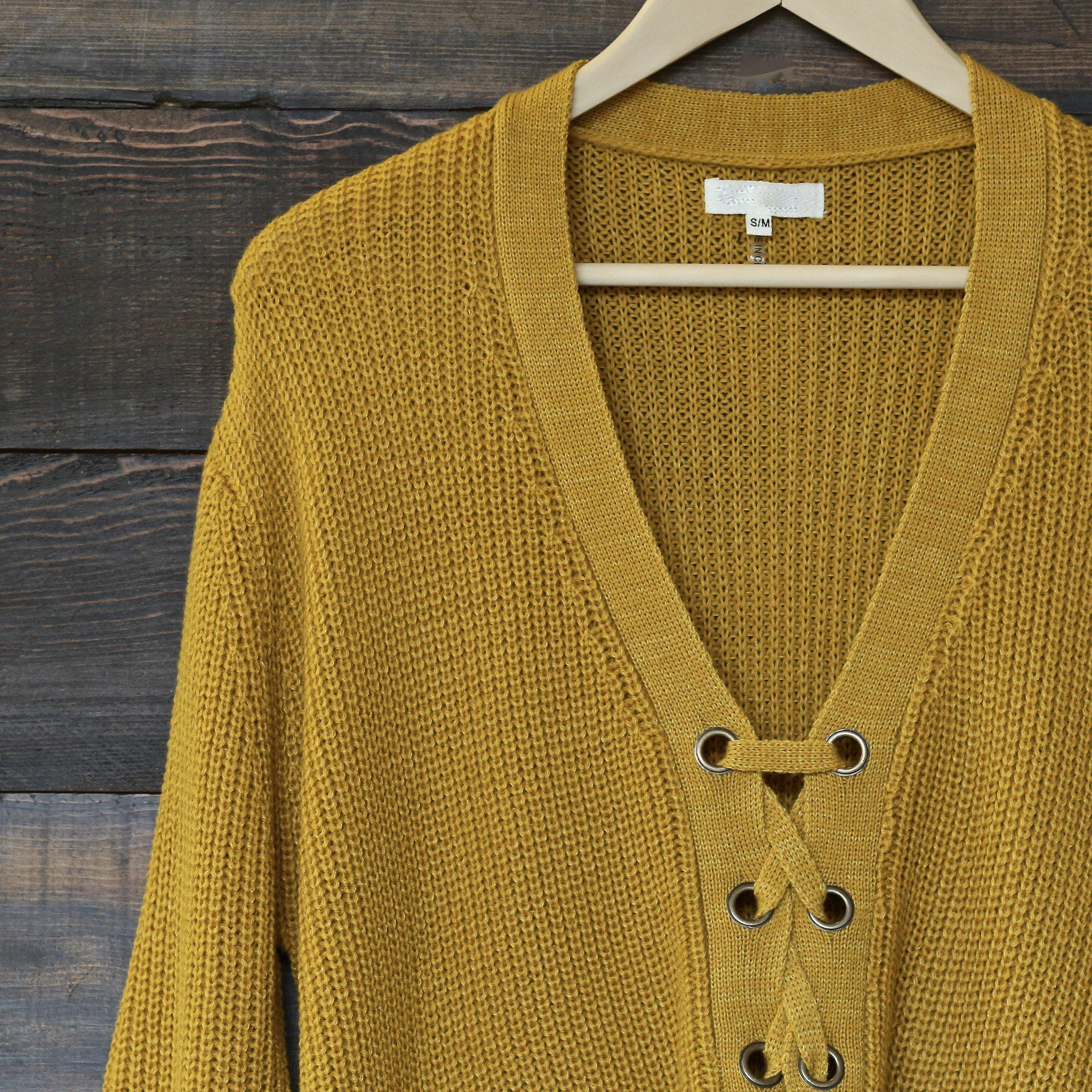 mustard lace up grommet knit sweater from shophearts  7da832d52
