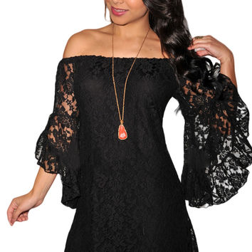 Black Plus Size Lace Mini Dress