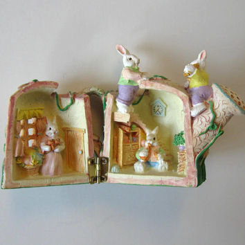 Vintage Easter Decor, Hinged Bunny House, toy, Easter Basket, Home Decor