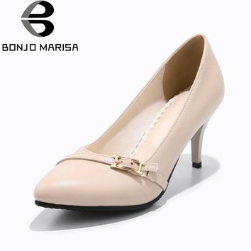 BONJOMARISA Women's Buckle Decoration High Heels Pointed Toe Office Shoes Woman Pointed Toe Less Platform Pumps Big Size 33-43