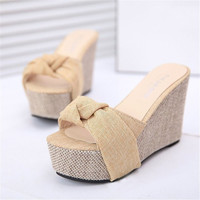 Summer Style Fashion Slippers Flip Flops Women Wedges Sandals Platform High Heel Bowtie Sweet Sexy Ladies Shoes Size 36-39