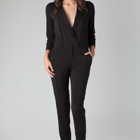 Halston Heritage Jumpsuit With Lapel Detail in Black