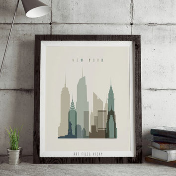 New York poster print, Poster wall art, New York art print, City art poster, typography art poster, New York digital print. ART FILES VICKY