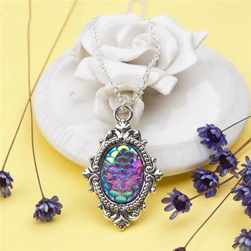 Doreenbeads Zinc Alloy Resin Oval Mermaid Fish/ Dragon Scale Necklace Antique Silver Purple Oval AB Color 47cm long, 1 Piece