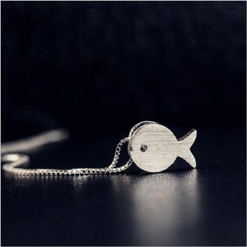Simple And Lovely Drawing Small Fish Personality Fashion Jewelry 925 Sterling Silver Pendant Necklace     H43
