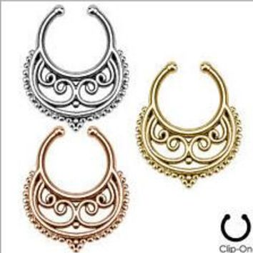 2015 Belly Button Rings 6 Pcs Fake Nose Ring Cheater Clip On Septum For Clicker Non Piercing Hoop Tribal Swirls Body Jewelry