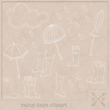 Rain Clipart (A set of 12). Handdrawn doodle clipart umbrellas rain boots digital stamps for invitations scrapbooking cards logo design etc