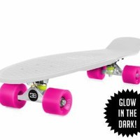 EIGHTBIT 22 Inch Complete Skate Board - Retro Skateboard Glow-in-the-Dark - Kryptonite/ Punch