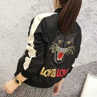 """Gucci"" Women Fashion Multicolor Sequin Letter Tiger Head Embroidery Long Sleeve Baseball Clothes Cardigan Jacket Coat"